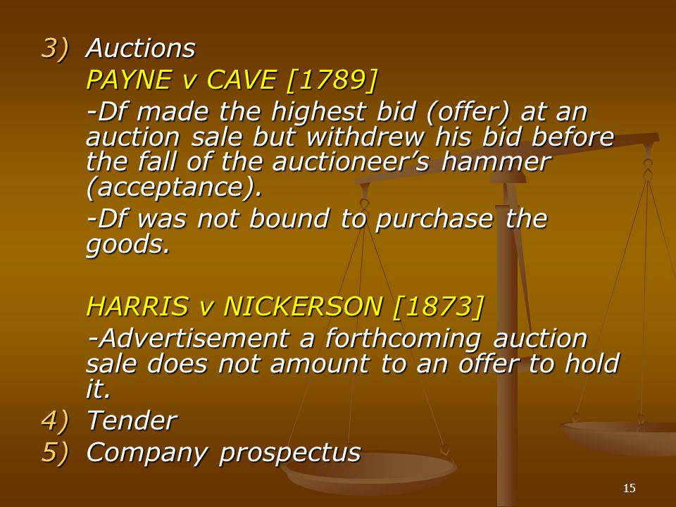 Auctions PAYNE v CAVE [1789]